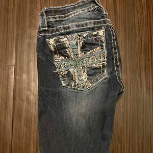 Size 25. Skinny Miss Me Jeans.